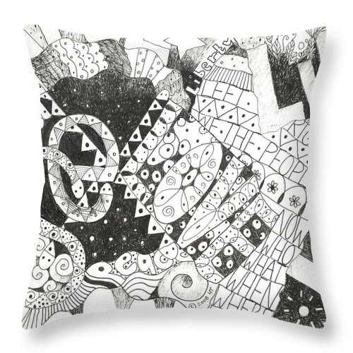 Words Throw Pillow featuring the drawing Does It Come With Instructions by Helena Tiainen