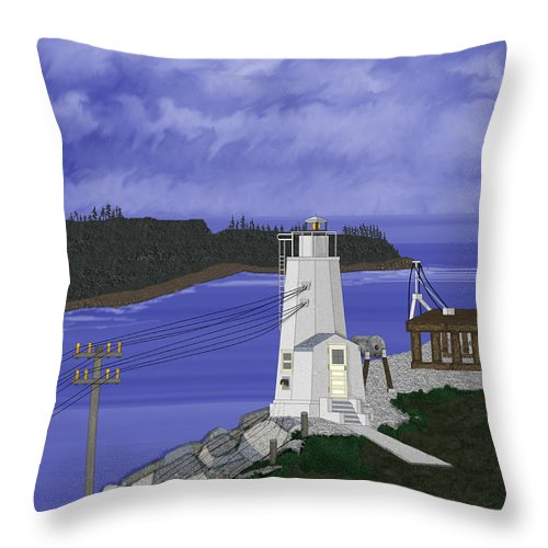 Lighthouse Throw Pillow featuring the painting Dofflemeyer Point Lighthouse At Boston Harbor by Anne Norskog
