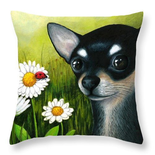 Dog Throw Pillow featuring the painting Dog 79 Chihuahua by Lucie Dumas