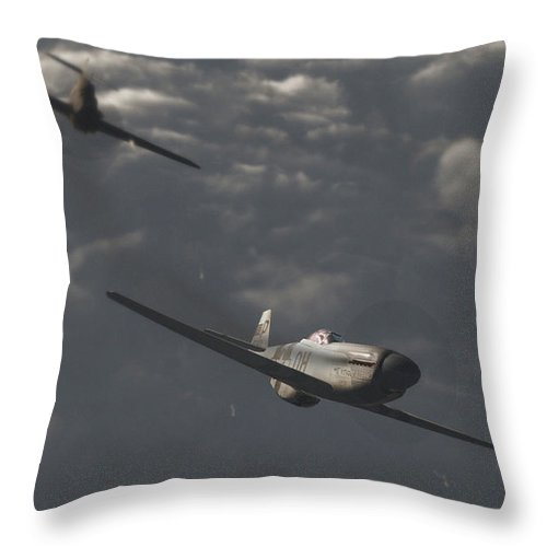 Ww2 Throw Pillow featuring the digital art Dog Fight by Richard Rizzo