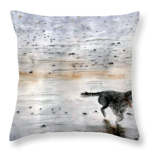 Watercolor Throw Pillow featuring the painting Dog On Beach by Chriss Pagani