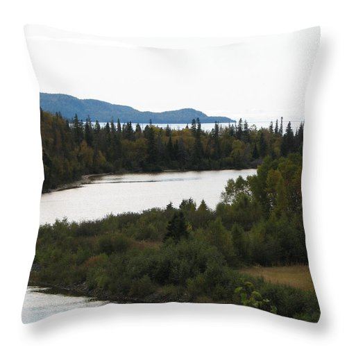 River Throw Pillow featuring the photograph Dogleg by Kelly Mezzapelle