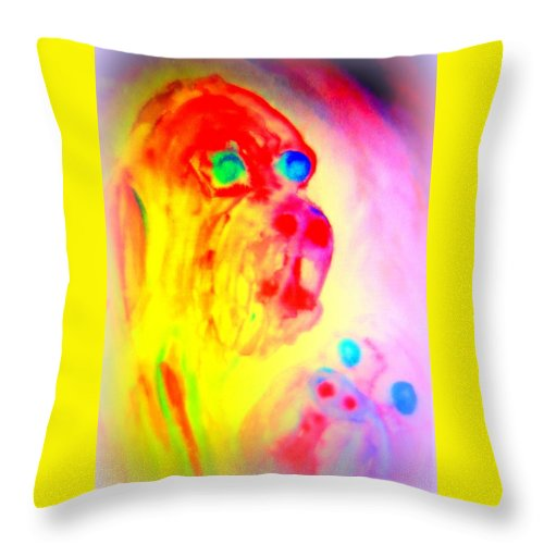 Troll Throw Pillow featuring the painting You May Feel Lonely But You Are Not Alone by Hilde Widerberg