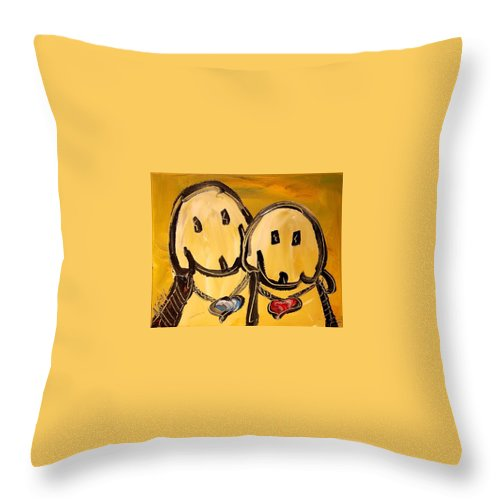 Throw Pillow featuring the painting Dogs by Mark Kazav