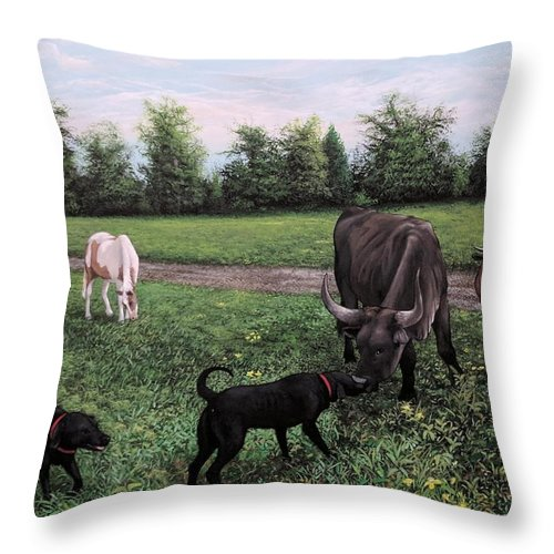 Dogs Throw Pillow featuring the painting Dogs Meeting Bull by Anthony Bennett