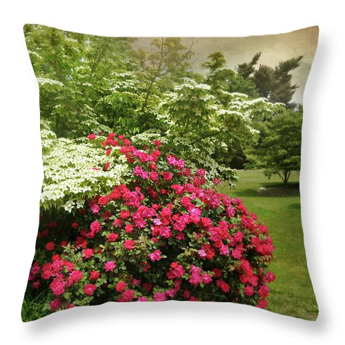 Spring Landscape Throw Pillow featuring the photograph Dogwood And Roses by Diana Angstadt