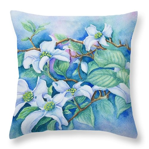 Floral Throw Pillow featuring the painting Dogwood by Conni Reinecke