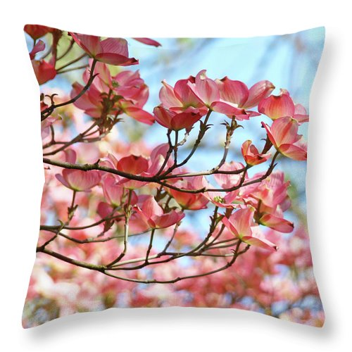 Dogwood Throw Pillow featuring the photograph Dogwood Tree Landscape Pink Dogwood Flowers Art by Baslee Troutman