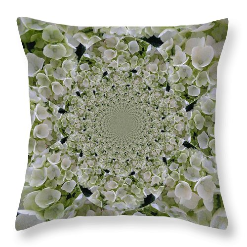 Digital Art Throw Pillow featuring the digital art Doily Of Flowers by Barbara Griffin