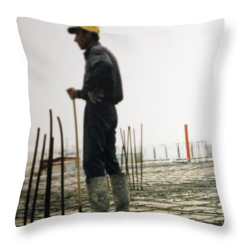 Man Throw Pillow featuring the photograph Doing The Calculations by Munir Alawi