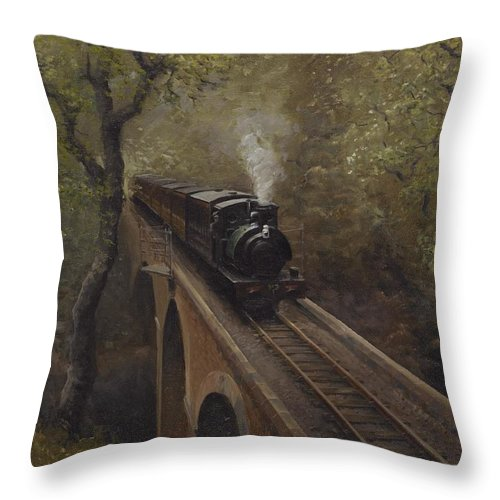 Steam Throw Pillow featuring the painting Dolgoch Viaduct by Richard Picton