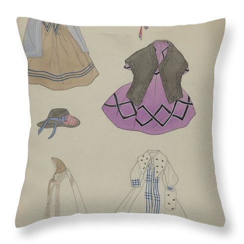 Throw Pillow featuring the drawing Doll And Wardrobe by Mina Lowry