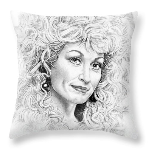 Portrait Throw Pillow featuring the drawing Dolly Parton by Murphy Elliott