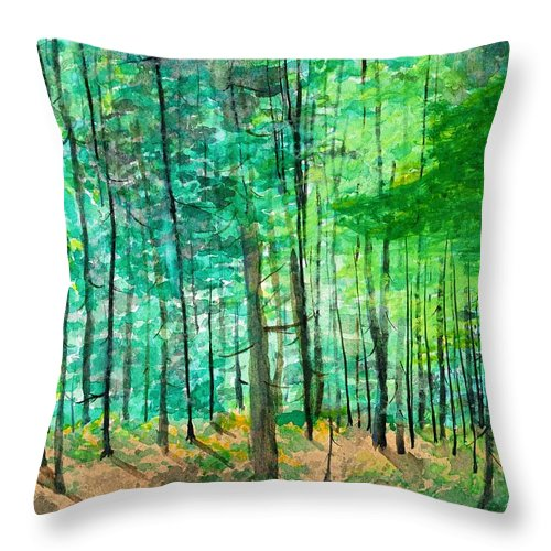 Landscape Throw Pillow featuring the painting Dolly Sods Trees by David Bartsch