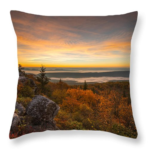 Dolly Sods Throw Pillow featuring the photograph Dolly Sods Wilderness Peak Fall Sunrise by Rick Dunnuck