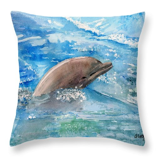 Dolphin Throw Pillow featuring the painting Dolphin by Arline Wagner