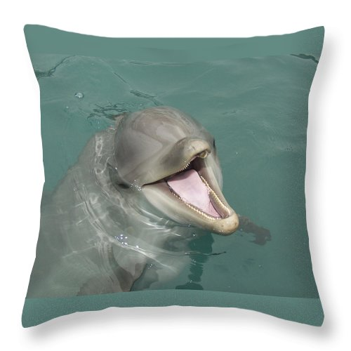 Dolphin Throw Pillow featuring the painting Dolphin by Sean M