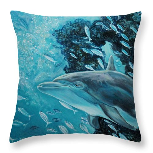 Underwater Scene Throw Pillow featuring the painting Dolphin with Small Fish by Diann Baggett