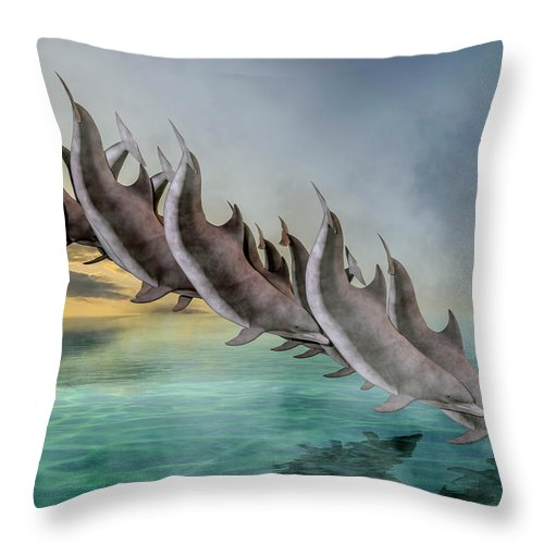 Dolphin Throw Pillow featuring the digital art Dolphins by Betsy Knapp