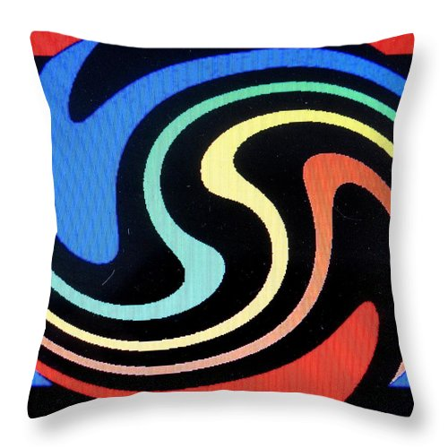 Dolphins Throw Pillow featuring the digital art Dolphins by Ian MacDonald