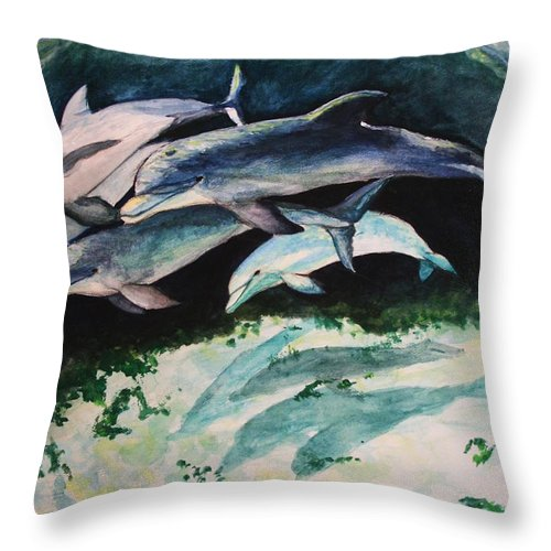 Dolphins Throw Pillow featuring the painting Dolphins by Laura Rispoli