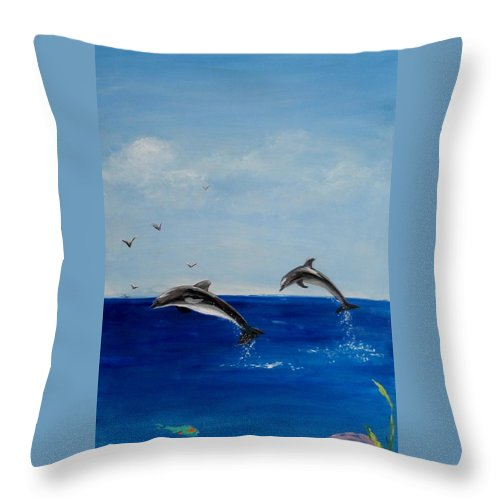 Dolphin Throw Pillow featuring the painting Dolphins Playing by Jamie Frier