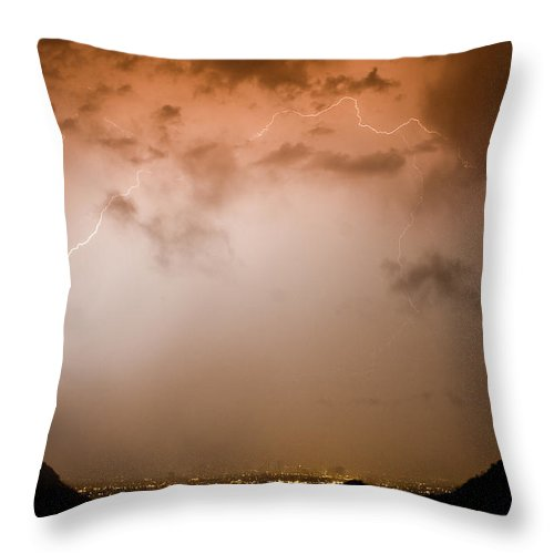 Lightning Throw Pillow featuring the photograph Dome Of Lightning by James BO Insogna