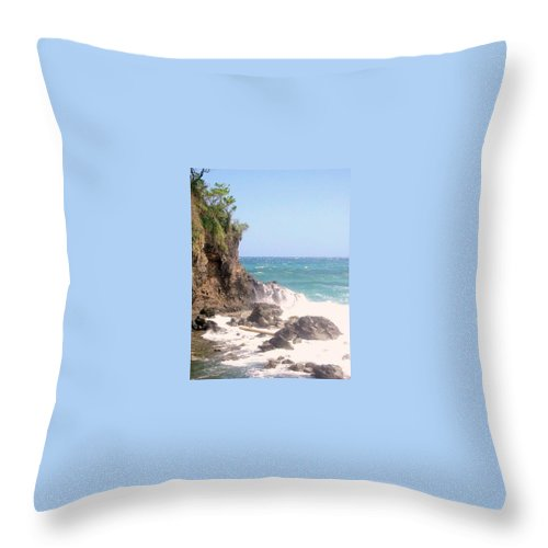 Dominica Throw Pillow featuring the photograph Dominica North Atlantic Coast by Ian MacDonald