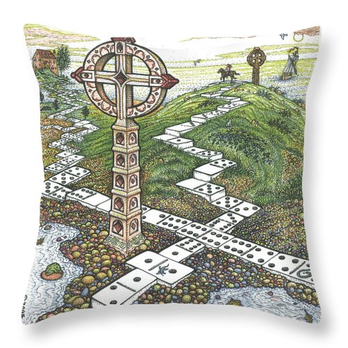 Landscape Throw Pillow featuring the drawing Domino Crosses by Bill Perkins