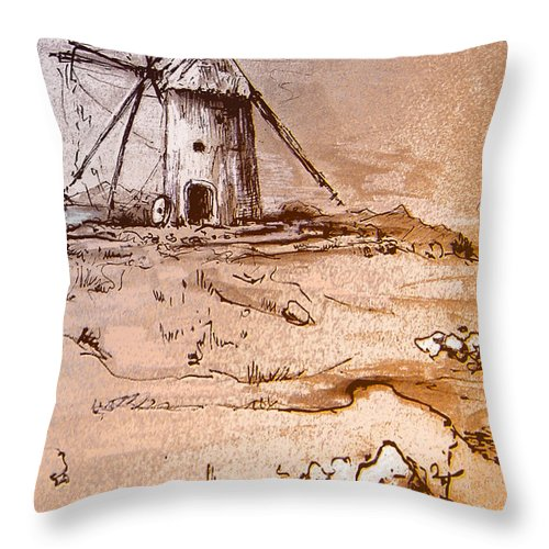 Don Quijote Throw Pillow featuring the painting Don Quijote Windmills 06 by Miki De Goodaboom
