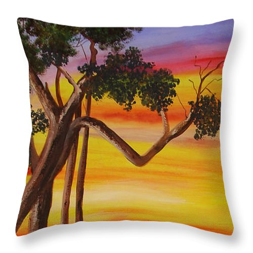 Don Quixote Throw Pillow featuring the painting Don Quixote And Sancho by Dominica Alcantara