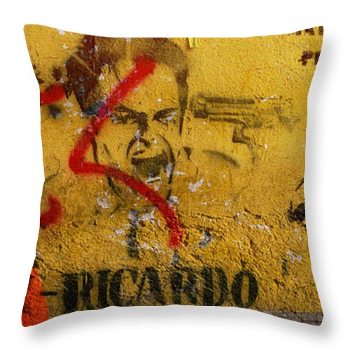 Grafitti Throw Pillow featuring the photograph Don-ricardo by Skip Hunt