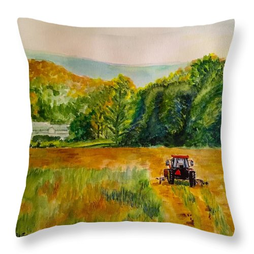 Tractor Throw Pillow featuring the painting Done for the Day by Judy Swerlick