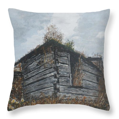 Old Buildings Throw Pillow featuring the painting Done Its Time... by Betty-Anne McDonald