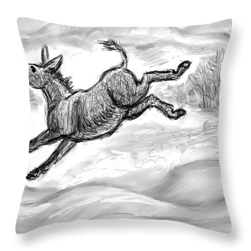 Animal Throw Pillow featuring the drawing Donkey Frolicking In The Snow by Dawn Senior-Trask