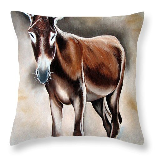 Animal Throw Pillow featuring the painting Donkey by Ilse Kleyn