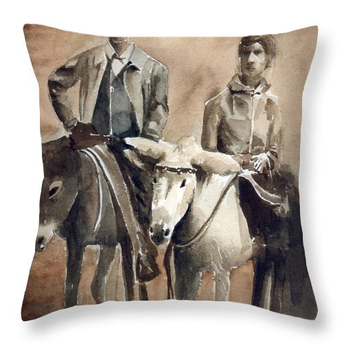 Donkey Throw Pillow featuring the painting Donkey Ride by Arline Wagner