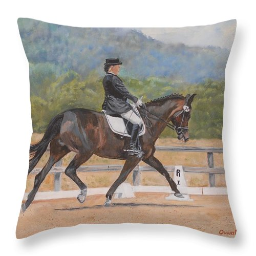 Horse Throw Pillow featuring the painting Donnerlittchen by Quwatha Valentine
