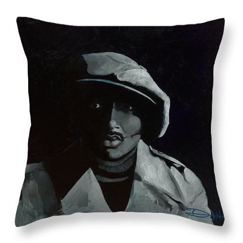 Portrait Throw Pillow featuring the painting Donnie Hathaway by Dana Newman
