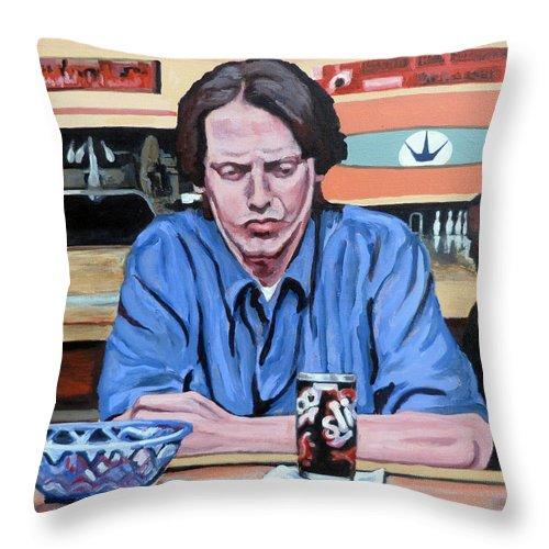 The Dude Throw Pillow featuring the painting Donny Kerabatsos by Tom Roderick