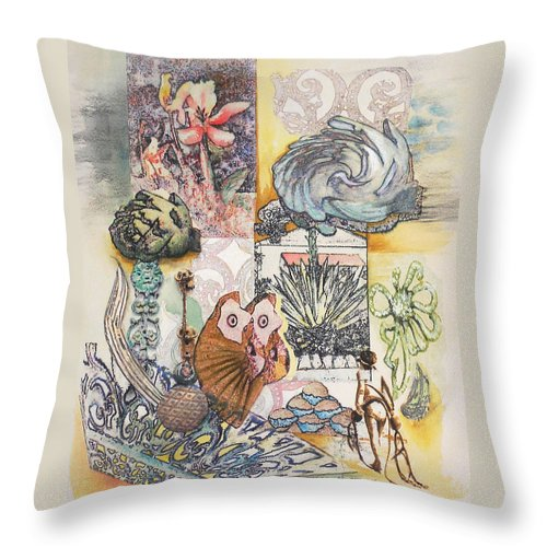 Abstract Throw Pillow featuring the painting Don't Artichoke by Valerie Meotti