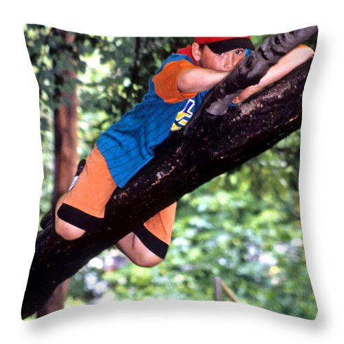 Boy Climbing Tree Throw Pillow featuring the photograph Don't Forget To Dream by Laurie Paci
