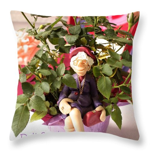 Red Hats Throw Pillow featuring the photograph Don't Forget To Stop And Smell The Roses by Carol Groenen