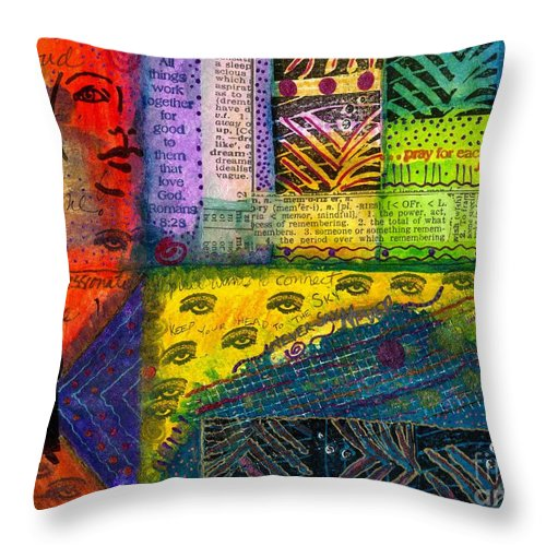 Greeting Cards Throw Pillow featuring the mixed media Don't Look Back by Angela L Walker