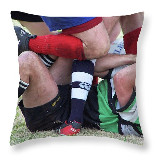 Rugby Throw Pillow featuring the photograph Don't Step On Me by Jerry Griffin