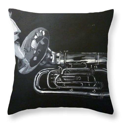 Tuba Throw Pillow featuring the painting Don't You Dare Play That by Richard Le Page