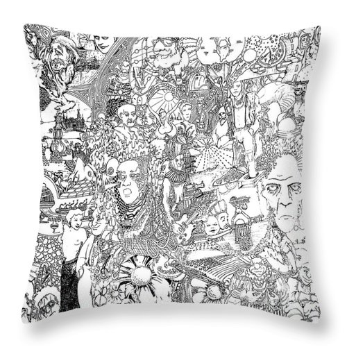 Doodle Throw Pillow featuring the drawing Doodle Art 1987 by Steve Hester