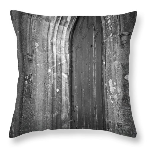 Irish Throw Pillow featuring the photograph Door At Protestant Church Macroom Ireland by Teresa Mucha