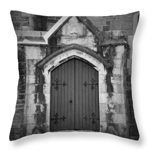 Irish Throw Pillow featuring the photograph Door At St. Johns In Tralee Ireland by Teresa Mucha