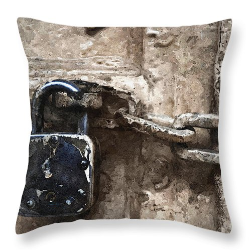 Lock Throw Pillow featuring the photograph Door Lock And Chain by Daleep Kumar